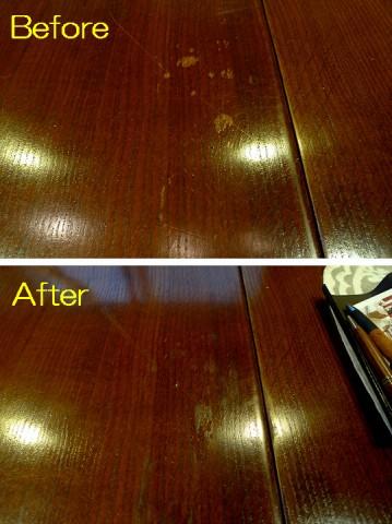 自分で修復したドローリーフテーブル