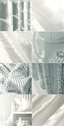 様々な白いデザインの生地の画像