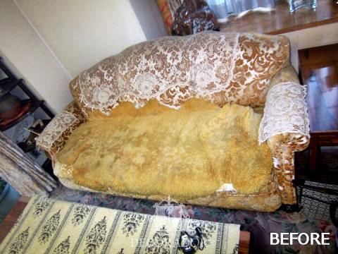 張替え前のソファの画像
