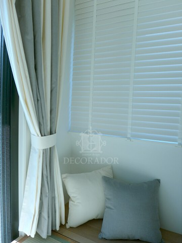 curtain and wood blind