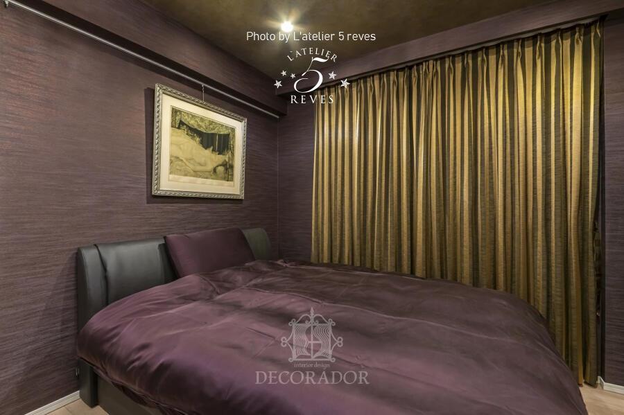 個性的で高級感のある寝室